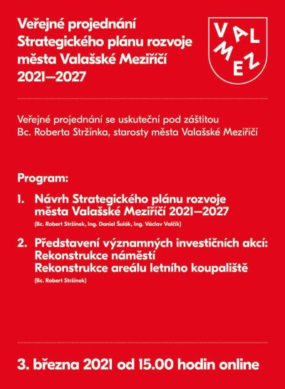 Veřejné projednání Strategického plánu rozvoje města Valašského Meziříčí 2021-2027