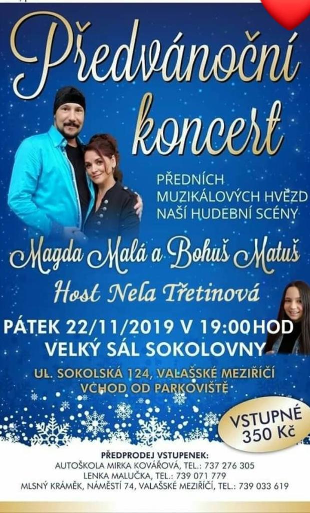 Předvánoční koncert předních muzikálových hvězd naší hudební scény Magdy Malé a Bohuše Matuše